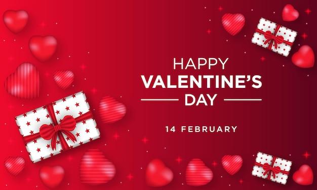 Feliz dia dos namorados cartão com coração e caixa de presente