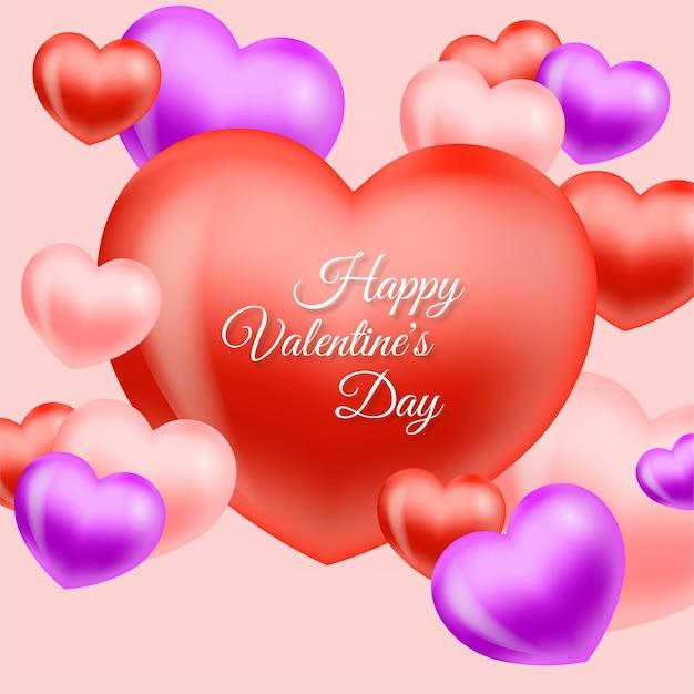 Feliz dia dos namorados cartão com coração vermelho e rosa
