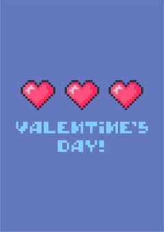 Feliz dia dos namorados cartão com corações bonitos de pixel