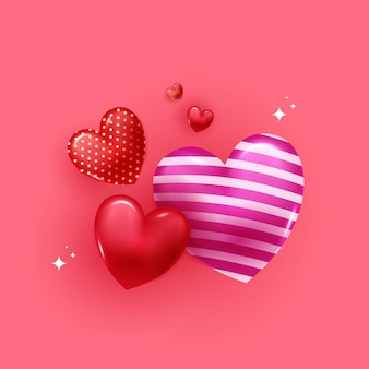 Feliz dia dos namorados cartão com corações de balão 3d em fundo rosa.
