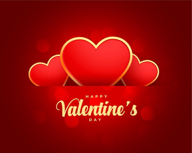 Feliz dia dos namorados cartão com corações de ouro Vetor grátis