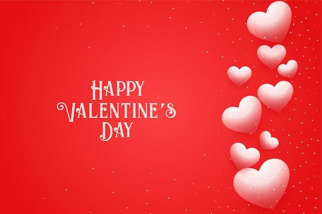 Feliz dia dos namorados cartão com corações flutuantes