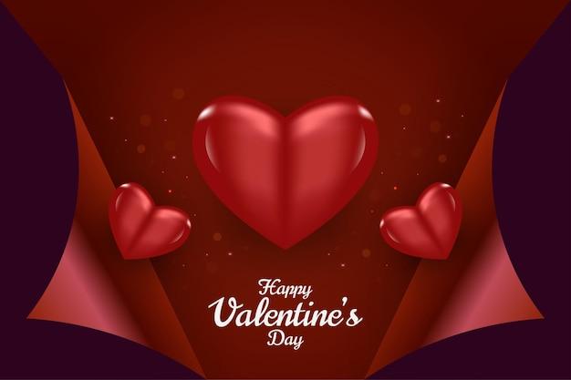 Feliz dia dos namorados cartão com corações realistas