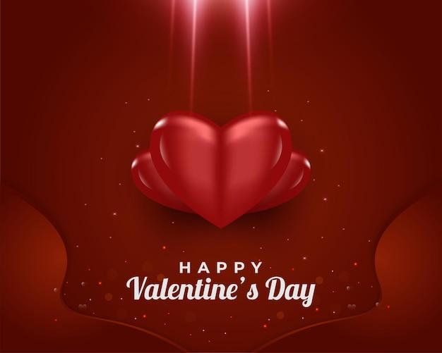 Feliz dia dos namorados cartão com corações vermelhos 3d com luz brilhante