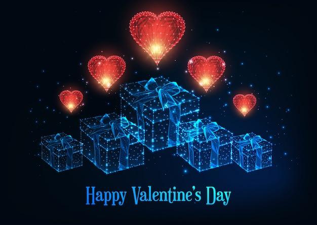 Feliz dia dos namorados cartão com corações vermelhos poligonais brilhantes e caixas de presente.