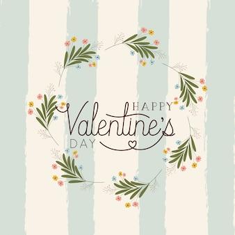 Feliz dia dos namorados cartão com coroa floral