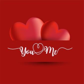 Feliz dia dos namorados cartão com dois corações em forma de texto escrito à mão você e eu