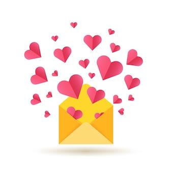 Feliz dia dos namorados cartão com envelope aberto e corações vermelhos