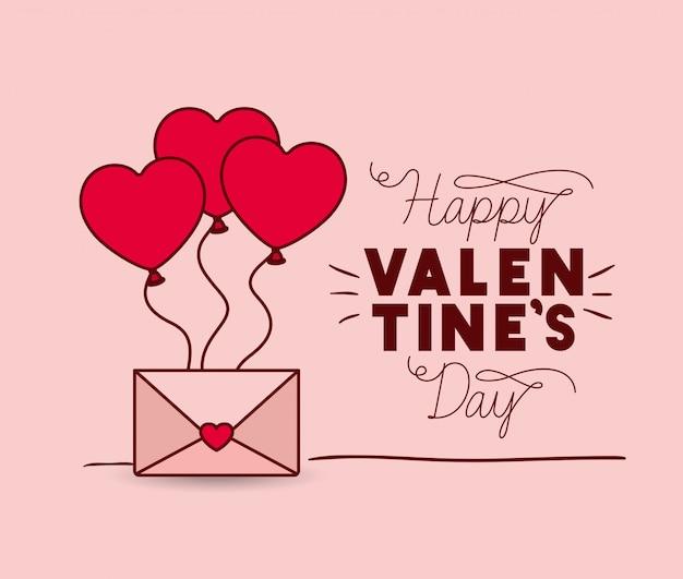 Feliz dia dos namorados cartão com envelope