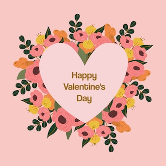 Feliz dia dos namorados cartão com flor de florescência
