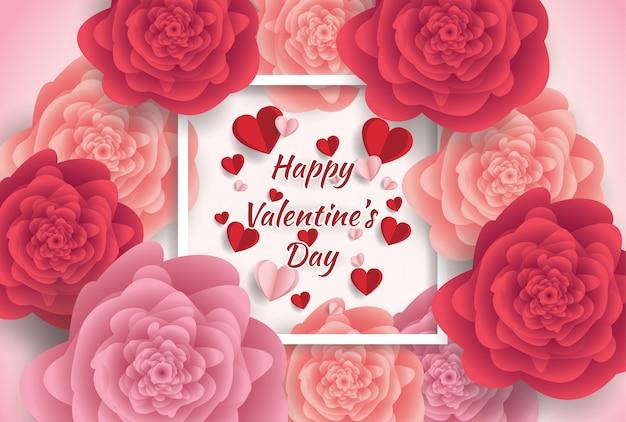Feliz dia dos namorados cartão com fundo de flores