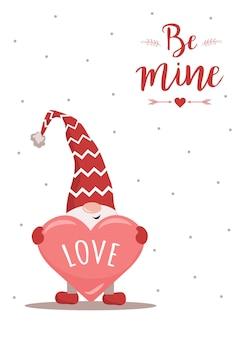 Feliz dia dos namorados cartão com gnomo no chapéu vermelho com coração