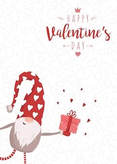 Feliz dia dos namorados cartão com lindo gnomo nórdico com chapéu vermelho e presente