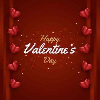 Feliz dia dos namorados cartão com luz cintilante e corações vermelhos 3d espalhados