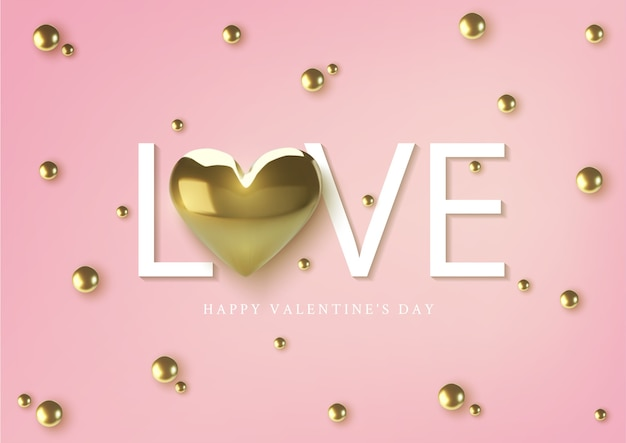 Feliz dia dos namorados cartão, corações metálicos dourados realistas e texto em fundo rosa