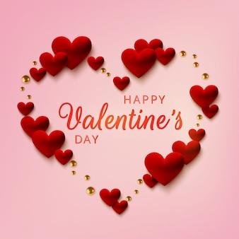 Feliz dia dos namorados cartão, corações vermelhos realistas em fundo rosa.