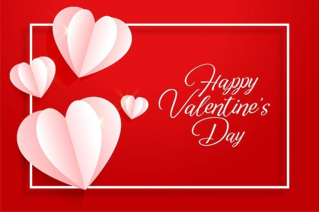Feliz dia dos namorados cartão de corações de origami