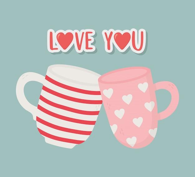 Feliz dia dos namorados, cartão de decoração de xícaras de café romântico