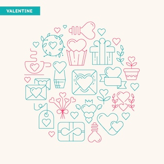 Feliz dia dos namorados cartão de design de tipografia com diferentes tipos de presentes e brinquedos desenhados à mão pela ilustração vetorial de cores verde e rosa