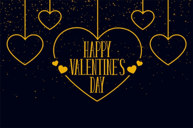 Feliz dia dos namorados cartão de saudação de corações