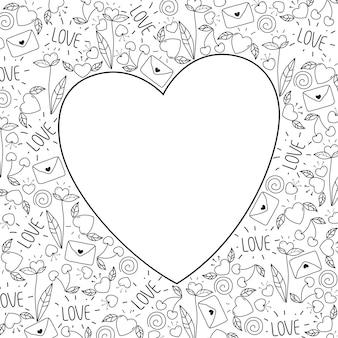 Feliz dia dos namorados cartão de saudação doodle. símbolos de amor do vetor. mão ilustrações desenhadas em preto e branco.