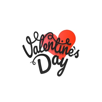 Feliz dia dos namorados cartão de saudação. rótulo de vetor de dia dos namorados com corações vermelhos