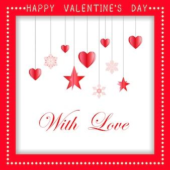 Feliz dia dos namorados cartão design com papel cortado em forma de coração vermelho, ilustração vetorial