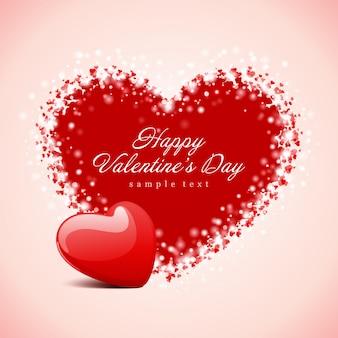 Feliz dia dos namorados cartão design e design de desejo tipográfico de coração vermelho