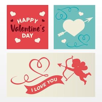Feliz dia dos namorados cartão letras com anjo e corações