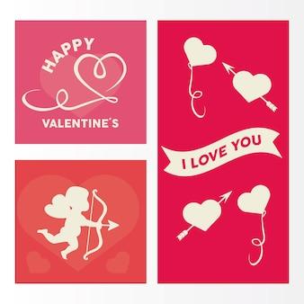 Feliz dia dos namorados cartão letras com corações e ícones de conjunto de anjo cupido