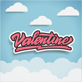 Feliz dia dos namorados cartão mão lettering vector