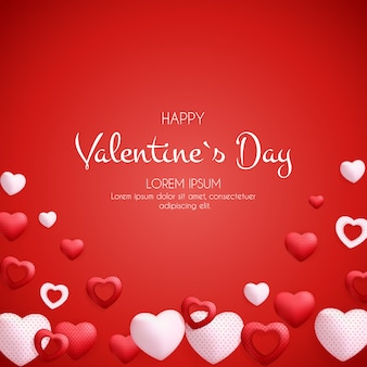 Feliz dia dos namorados cartão ou plano de fundo com coração.