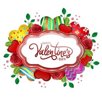 Feliz dia dos namorados cartão res rosa e ornamento de coração