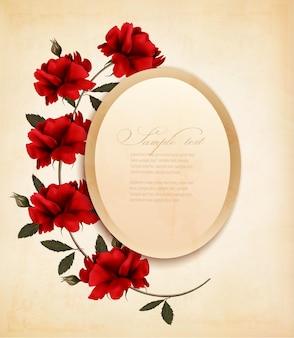 Feliz dia dos namorados cartão retro de fundo com rosas vermelhas. ilustração vetorial.