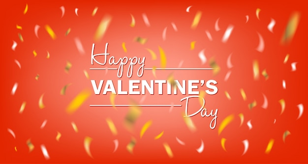 Feliz dia dos namorados cartão vermelho com confetes de folha de ouro