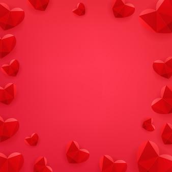 Feliz dia dos namorados cartaz com corações vermelhos