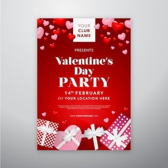 Feliz dia dos namorados cartaz com realista caixa de presente de dia dos namorados para folheto ou capa