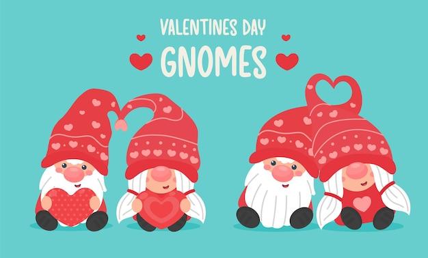 Feliz dia dos namorados. casais de gnomos de desenho animado trocam um coração vermelho no dia dos namorados.