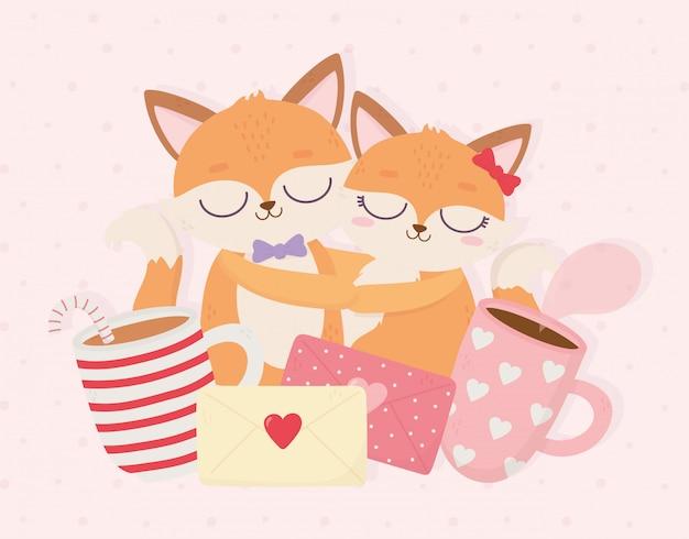 Feliz dia dos namorados casal abraçou raposas mensagem xícaras de café