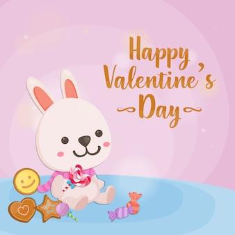 Feliz dia dos namorados, coelho fofo no fundo rosa. cartão para dia dos namorados