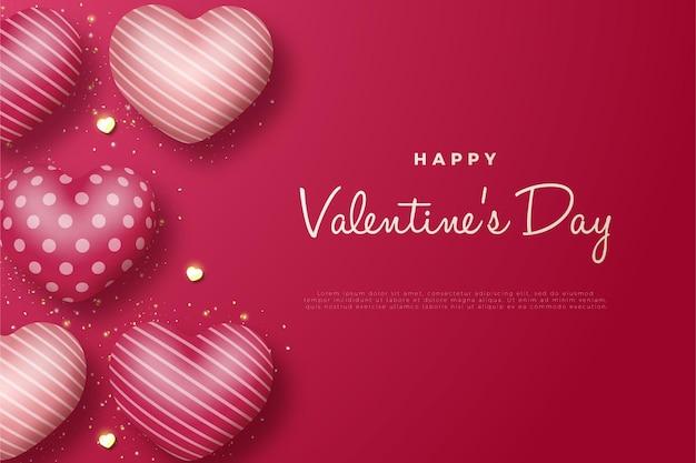 Feliz dia dos namorados com a escrita e cinco balões de amor à esquerda.