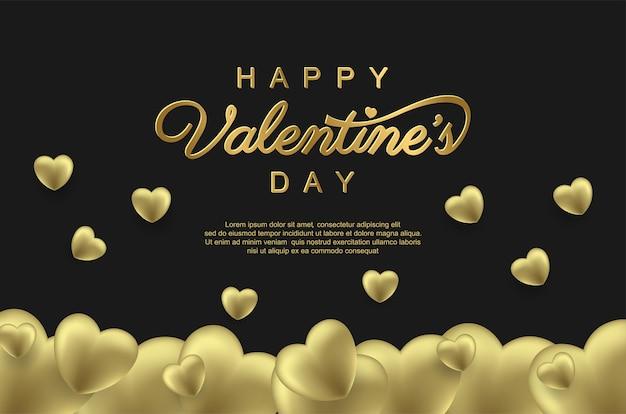 Feliz dia dos namorados com balão de amor dourado realista
