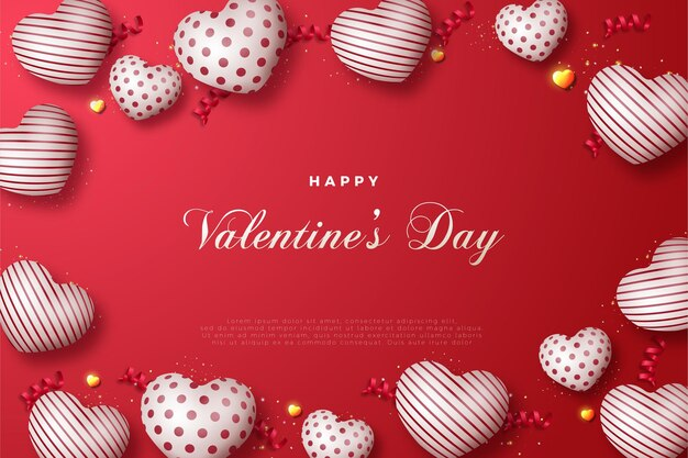 Feliz dia dos namorados com balões de amor ao redor.