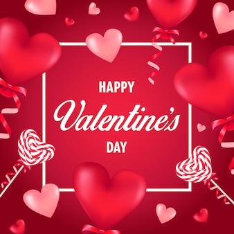Feliz dia dos namorados com balões e pirulitos em forma de coração vermelho.