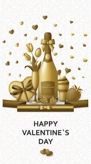 Feliz dia dos namorados com champanhe, presente, flores e frutas