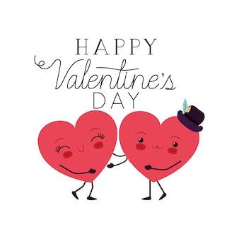 Feliz dia dos namorados com coração amor kawaii personagem