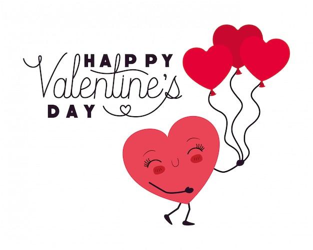 Feliz dia dos namorados com coração amor kawaii