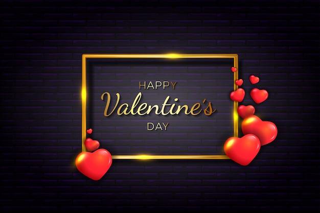Feliz dia dos namorados com coração vermelho e moldura dourada