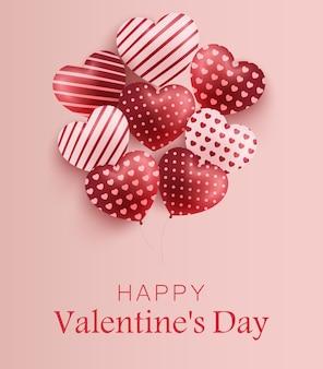 Feliz dia dos namorados com corações de balão