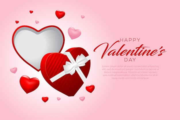 Feliz dia dos namorados com corações e presentes